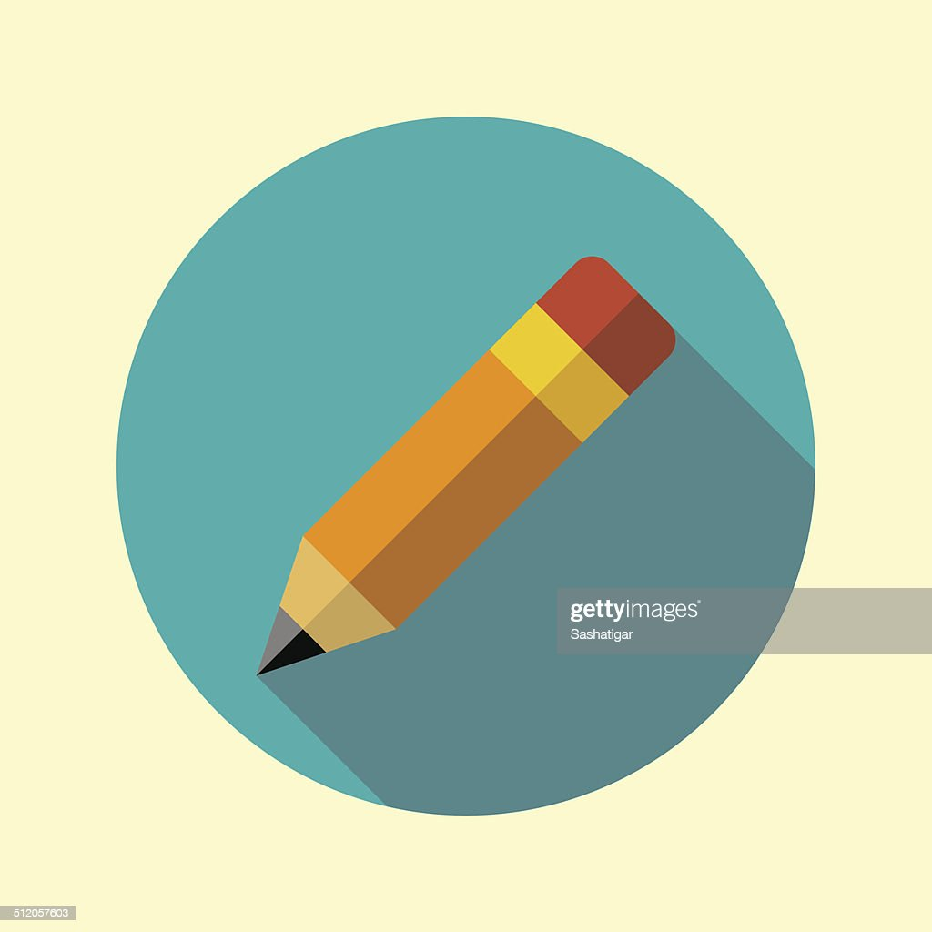Pencil with attached eraser icon. Flat long shadow design.