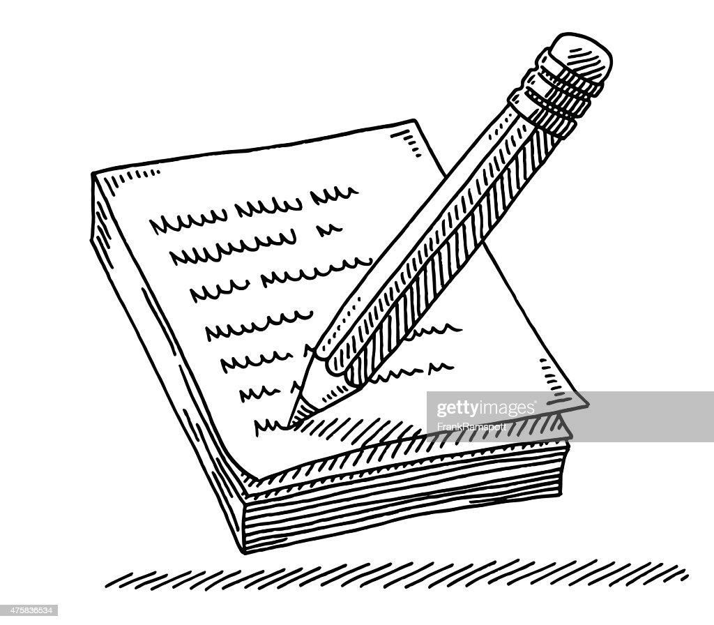 Pencil Writing A Message On Notepad Drawing : stock illustration