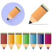 Pencils, a set of cartoon, colored pencils. A pencil icon with a shadow.