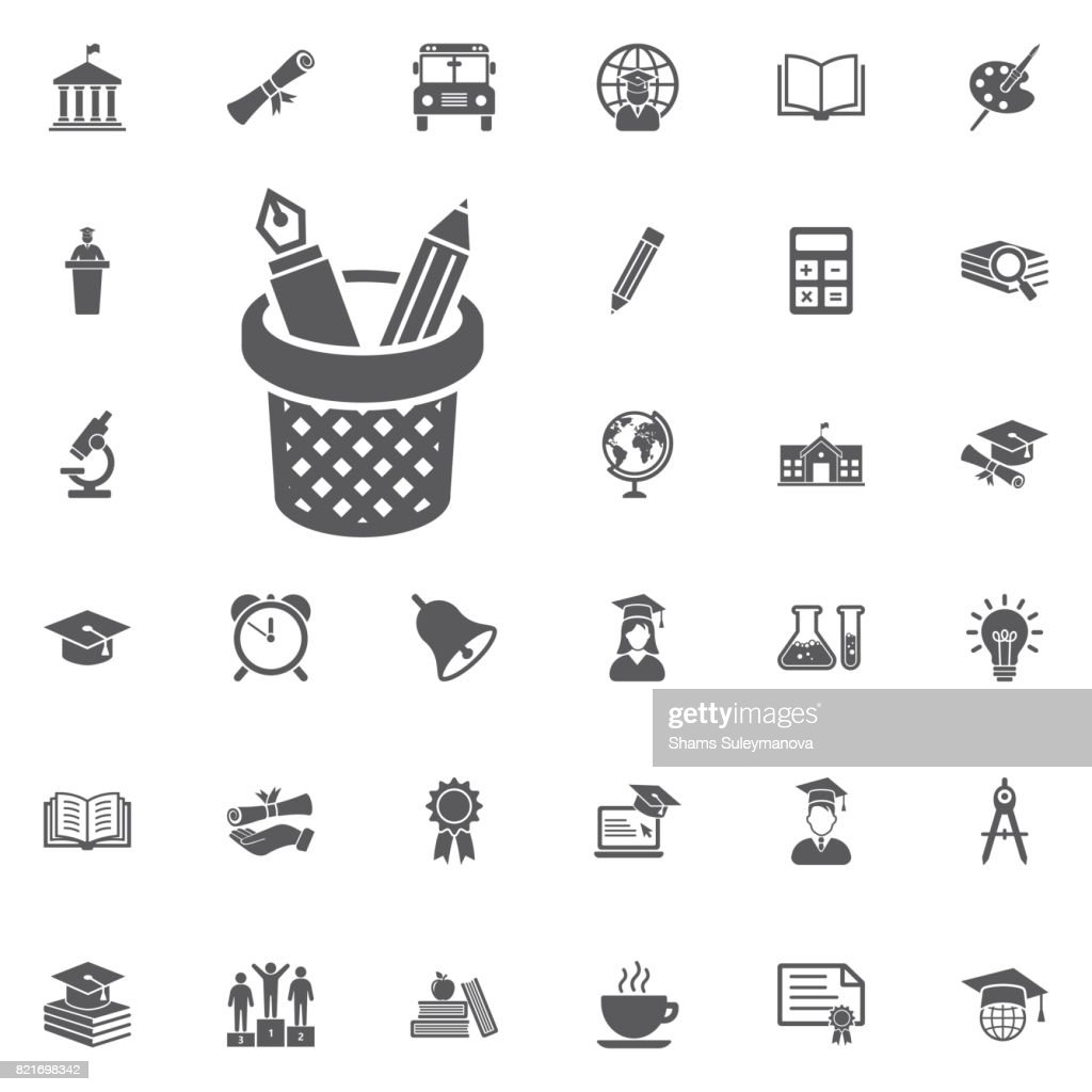 pencils and pens in a cup icon