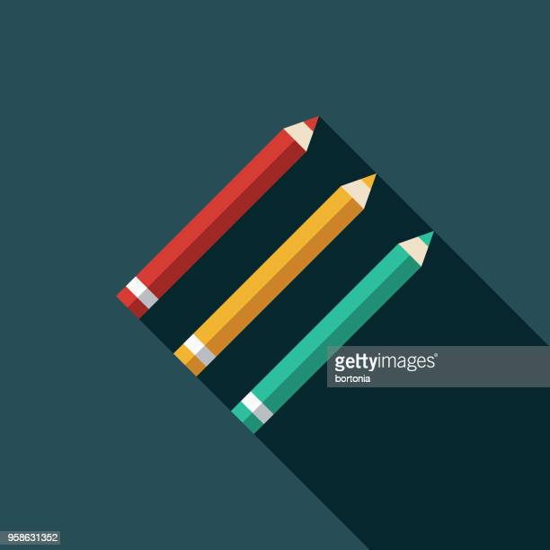 pencils flat design arts icon with side shadow - pencil stock illustrations, clip art, cartoons, & icons
