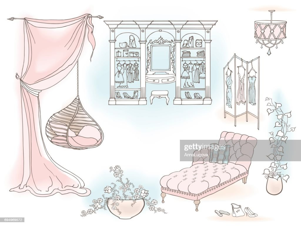 Pendant chair lady dressroom color