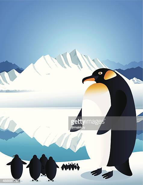 penguin and ice - ice floe stock illustrations