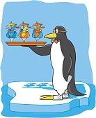 Penguin Bartender Serving Drinks