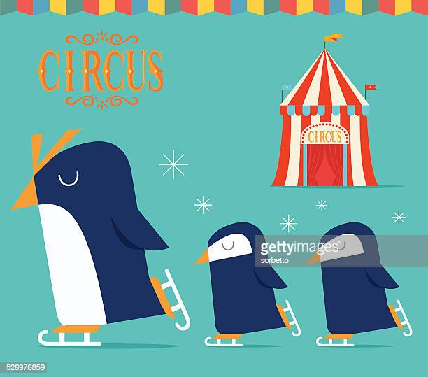 penguin circus show - ice skating stock illustrations, clip art, cartoons, & icons