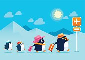 penguin family traveling on summer vacation