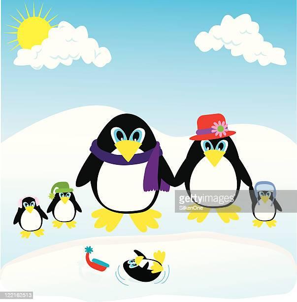 penguin family - webbed foot stock illustrations, clip art, cartoons, & icons