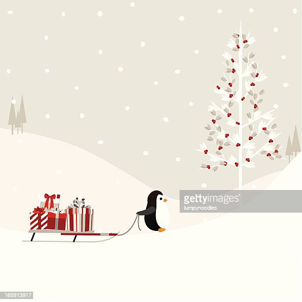 Penguin Hauling Gifts to the Tree