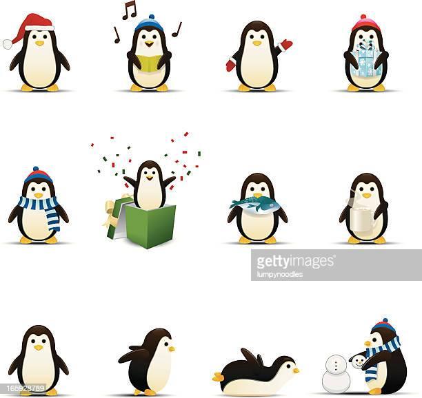 penguin icons - penguin stock illustrations