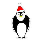 Penguin in red hat santa claus isolated on white