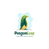 Penguin Leaf Concept illustration vector Design template