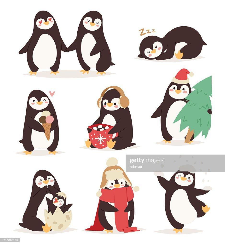 Penguin set vector characters : Vector Art