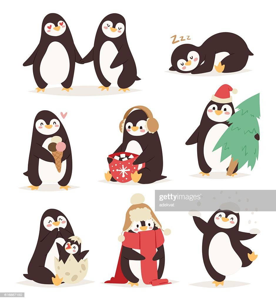 Penguin set vector characters