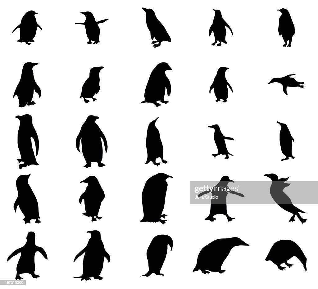Penguin silhouettes set