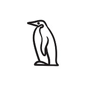 Penguin sketch icon