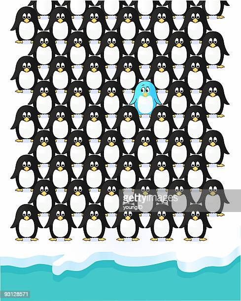 penguin stands out - large group of animals stock illustrations