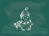penguin, vector of penguin Christmas drawing on the blackboard chalk