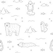 Penguins + polar bear seamless pattern in cartoon style. Colored page background for children. Black + white