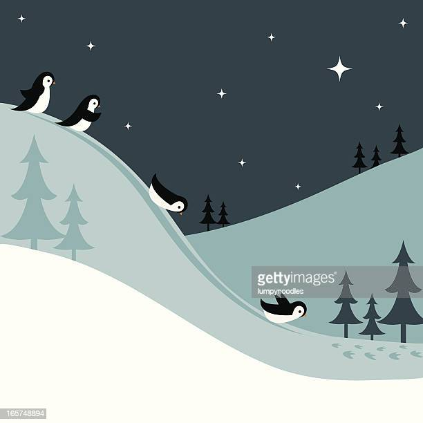 penguins sledding down a snowy hill at night - tobogganing stock illustrations, clip art, cartoons, & icons