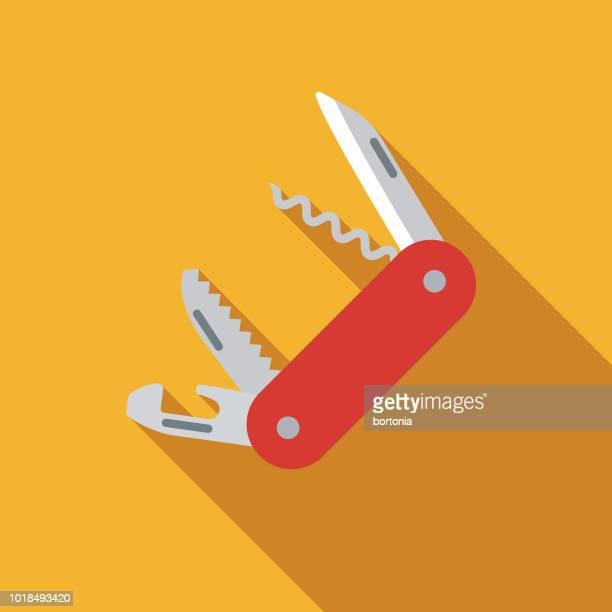 penknife flat design switzerland icon - swiss culture stock illustrations