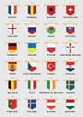 pennants with flags of european football countries for championship