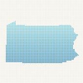 Pennsylvania Map Blue Dot Pattern