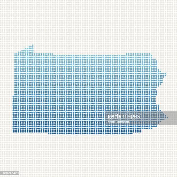 Pennsylvania Karte Blau gepunktet