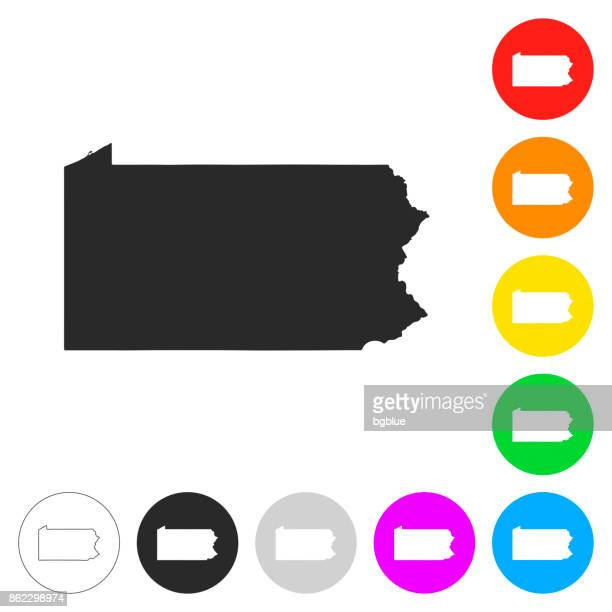 Pennsylvania map - Flat icons on different color buttons
