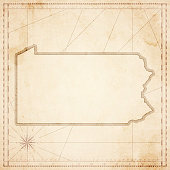 Pennsylvania map in retro vintage style - old textured paper