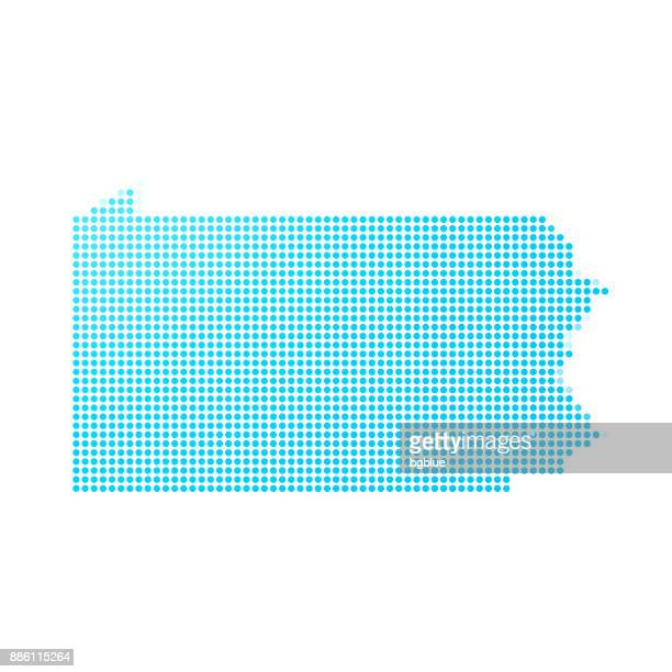 Pennsylvania map of blue dots on white background