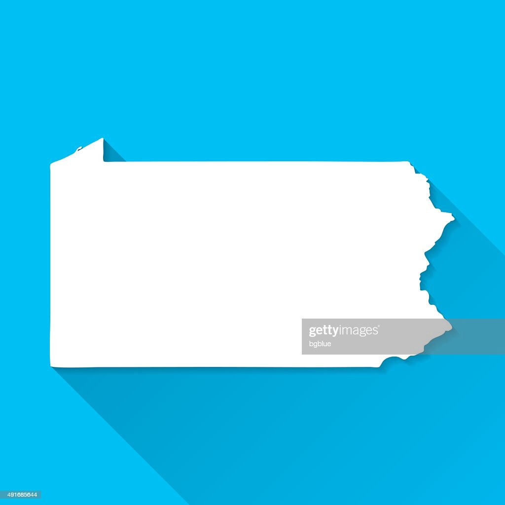 Pennsylvania Map on Blue Background, Long Shadow, Flat Design