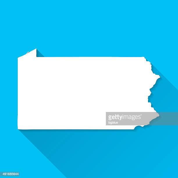 Pennsylvania Map on Blue Background, Long Shadow, Flat Design