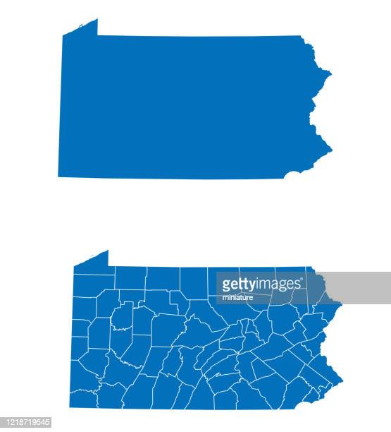 pennsylvania map - pennsylvania stock illustrations
