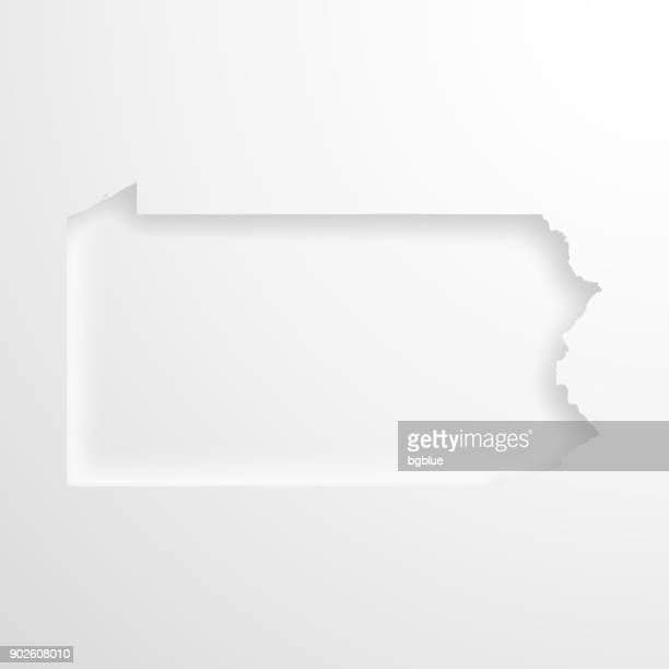 Pennsylvania map with embossed paper effect on blank background
