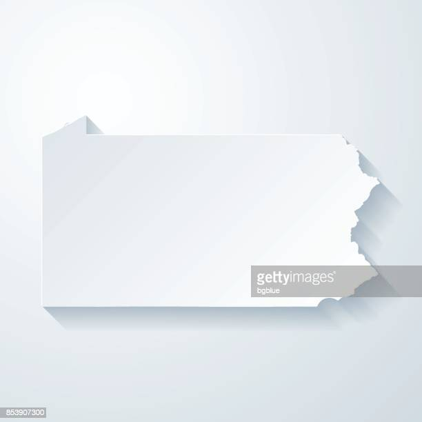 Pennsylvania map with paper cut effect on blank background