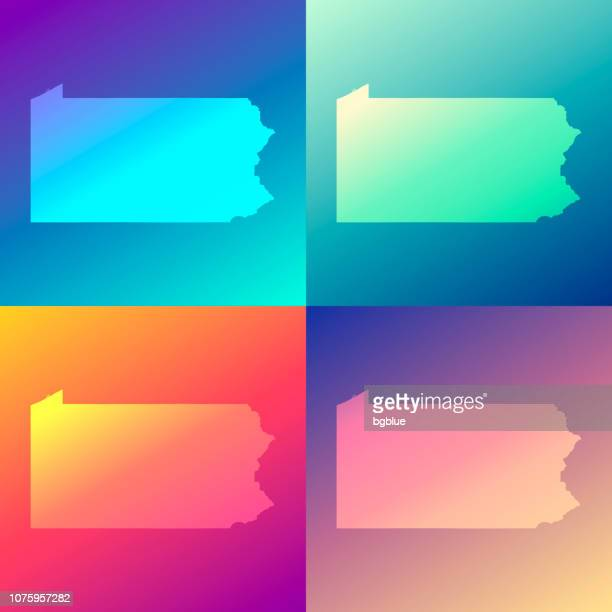 Pennsylvania maps with colorful gradients - Trendy background