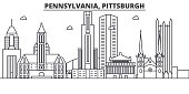 Pennsylvania  Pittsburgh architecture line skyline illustration. Linear vector cityscape with famous landmarks, city sights, design icons. Landscape wtih editable strokes