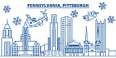 USA, Pennsylvania , Pittsburgh winter city skyline. Merry Christmas and Happy New Year decorated banner.Winter greeting card with snow and Santa Claus. Flat, line vector. Linear christmas illustration