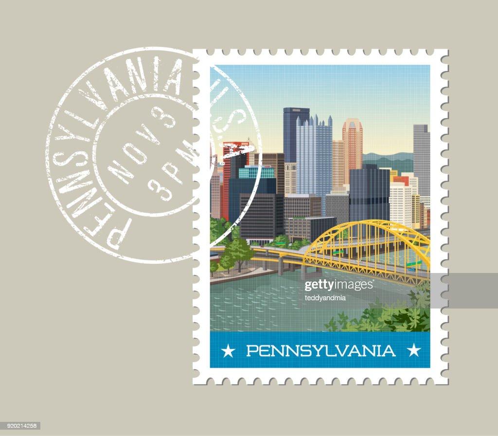 Pennsylvania postage stamp design. Vector illustration of Pittsburgh skyline. Grunge postmark on separate layer.