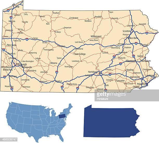 pennsylvania road map - pennsylvania stock illustrations