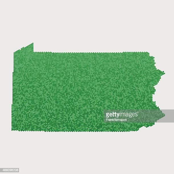 Pennsylvania State Map Green Hexagon Pattern