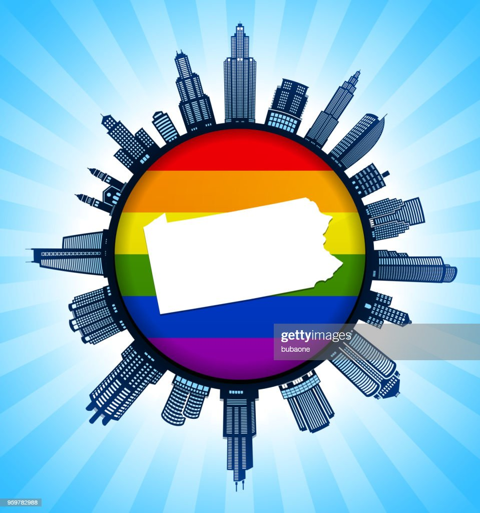 Pennsylvania State Map on Gay Pride City Skyline Background : Stock Illustration