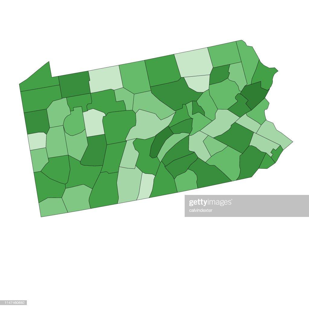 Mapa Del Estado De Pensilvania Con Condados Ilustracion De Stock Getty Images