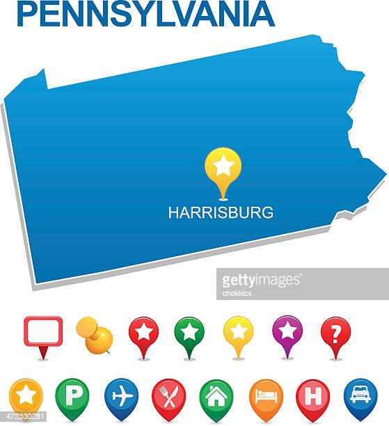 pennsylvania state map with gps pins