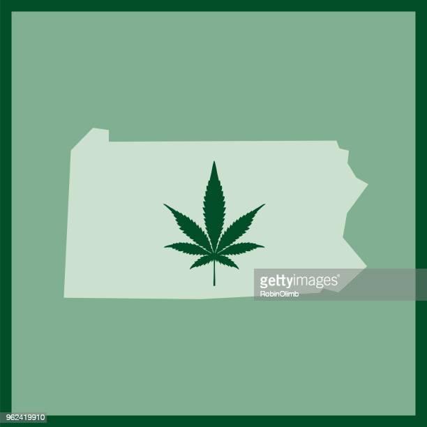 pennsylvania state marijuana map - hashish stock illustrations, clip art, cartoons, & icons