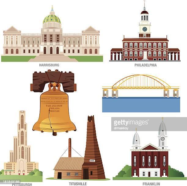 pennsylvania symbols - liberty bell stock illustrations