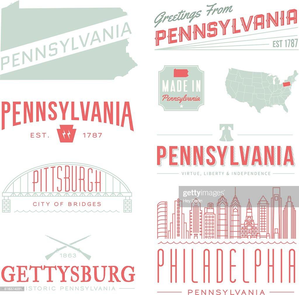 Pennsylvania Typography : stock illustration