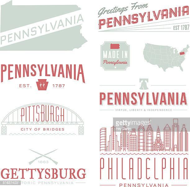 pennsylvania typography - liberty bell stock illustrations
