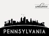 Pennsylvania USA skyline silhouette, black and white design