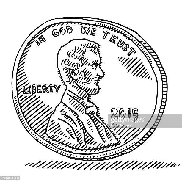 us penny coin money drawing - us penny stock illustrations